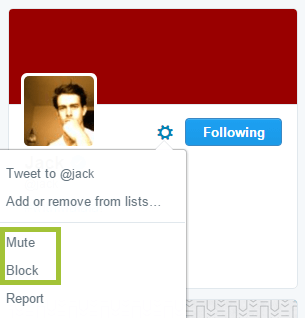 screenshot of twitter mute & block