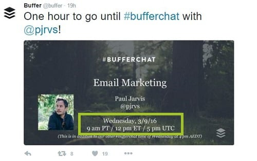 screenshot of buffer twitter chat