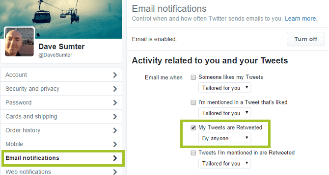 screenshot of twitter email notifications