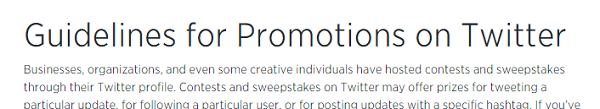 screenshot of twitters contest guidelines