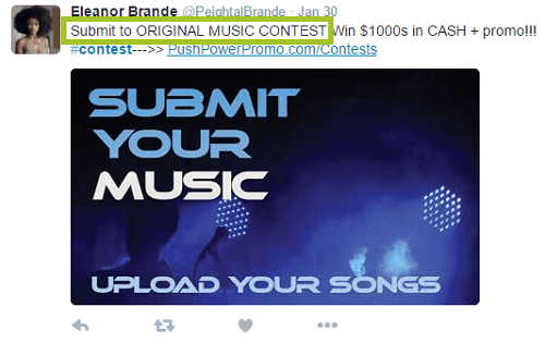 screenshot of music submission contest on twitter
