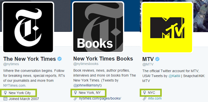 screenshot of NYC location in twitter profiles