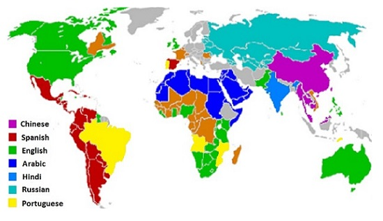 map of country languages around the world