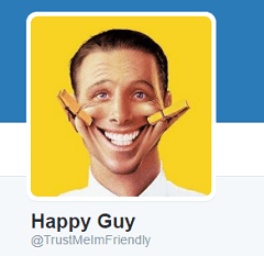 screenshot of twitter smiling profile picture