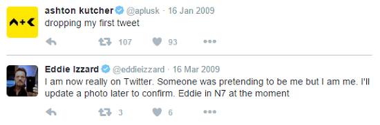 screenshot of first tweets