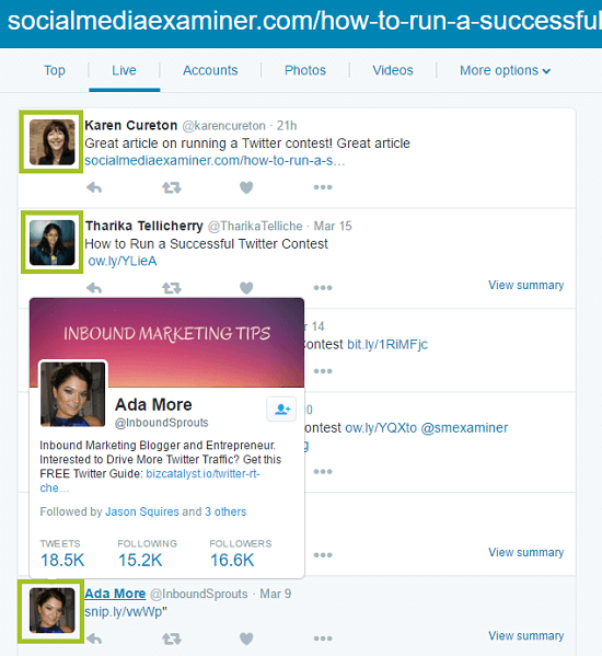 screenshot of twitter search