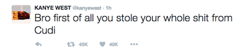 screenshot of a controversial Kanye West tweet