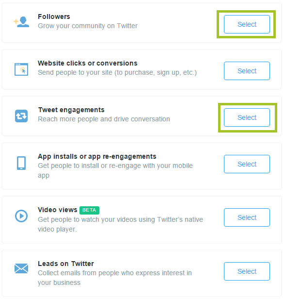 screenshot of twitter ads campaigns