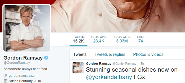screenshot of Gordon Ramsay twitter profile