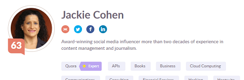screenshot of Jackie Cohen Klout