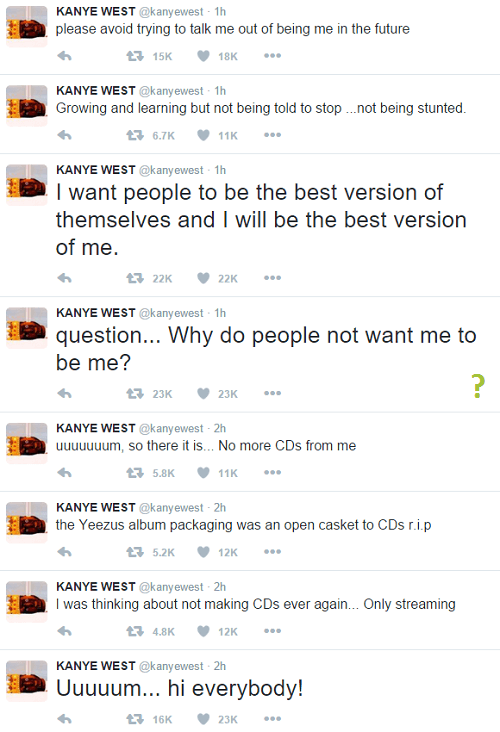 screenshot of Kanye West's tweets