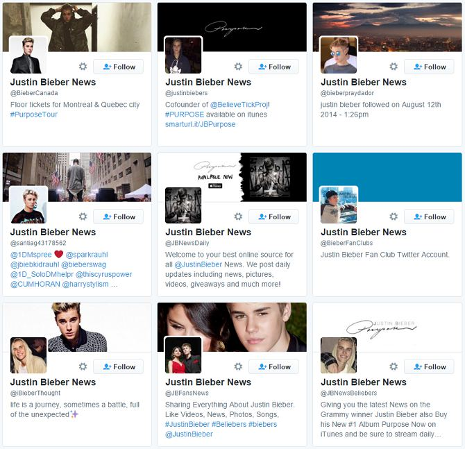 screenshot of Justin Bieber News profiles